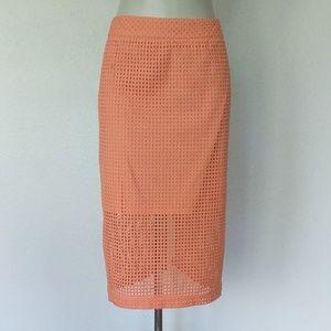 Trina Turk Grid eyelet pencil skirt